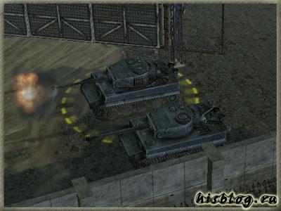 Подгоняю танки и ставлю их между ангаром и бетонным забором