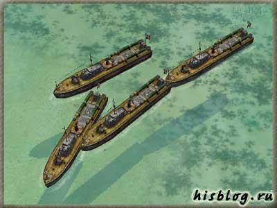 четыре катера зацепились друг за друга и не могут двигаться