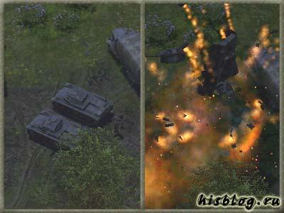 Взрыв обоих танков одной гранатой