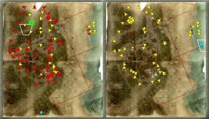 Карта до и после атаки на базу