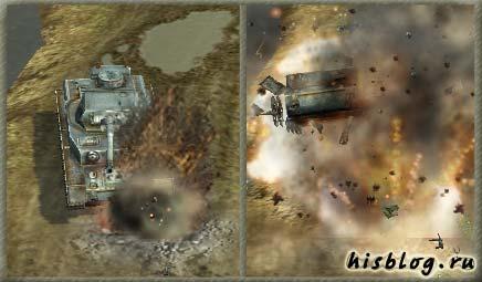 на мине подрывается танк, который ехал по просёлочной дороге