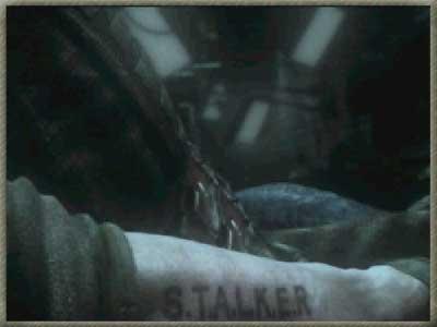 На руке Стрелка отчётливо видна надпись: S.T.A.L.K.E.R.