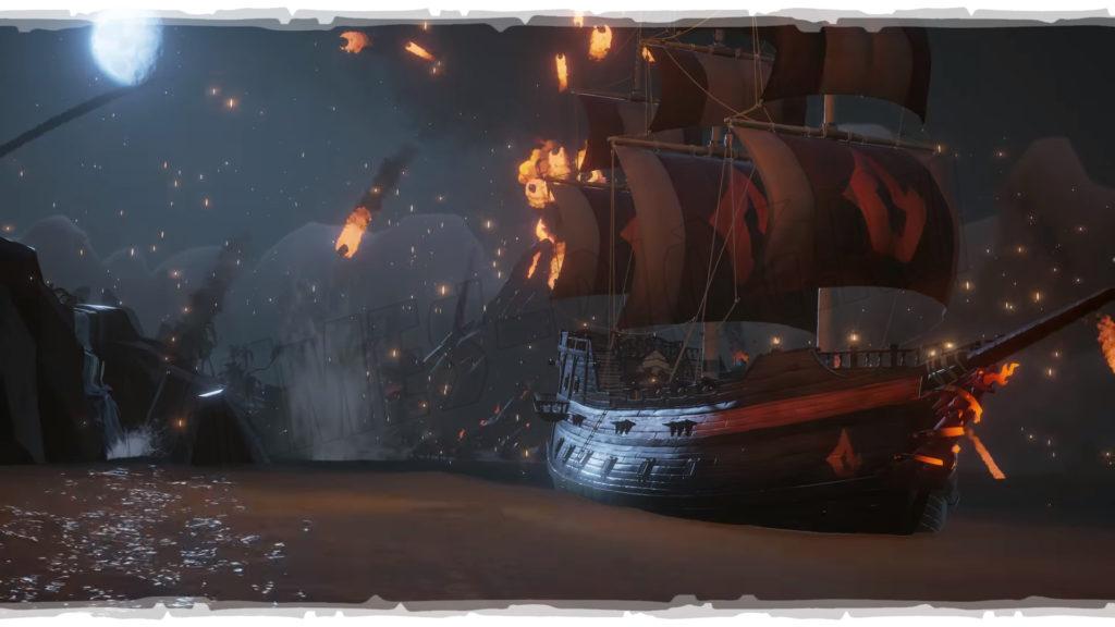 Sea of Thieves: обновление Forsaken Shores. Новый сет корабля на фоне вулкана.